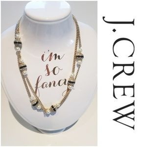 NWOT J. CREW DOUBLE STRAND GOLD AND PEARL NECKLACE